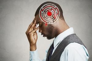 Decision wisdom strategy concept. Man solving problem thinking